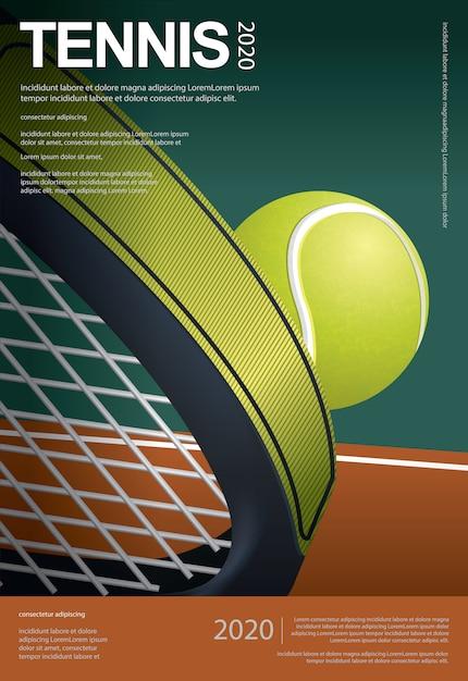 Ilustración del vector del cartel del campeonato de tenis vector gratuito