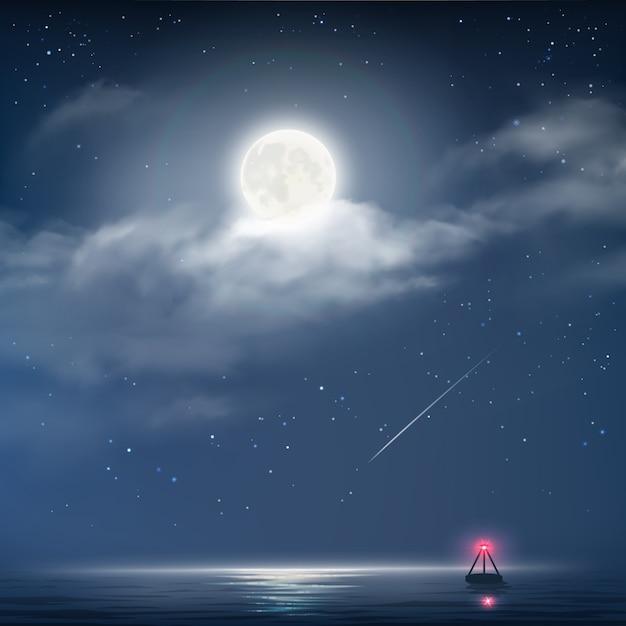 Ilustración de vector de cielo nublado nocturno con estrellas, luna y mar con faro Vector Premium