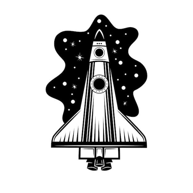 Ilustración de vector de cohete espacial. nave espacial, nave espacial, lanzadera vector gratuito