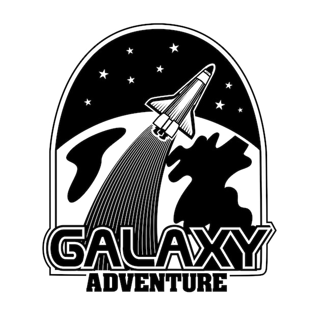 Ilustración de vector de cohete extraterrestre monocromo. nave espacial retro frente al planeta. vector gratuito
