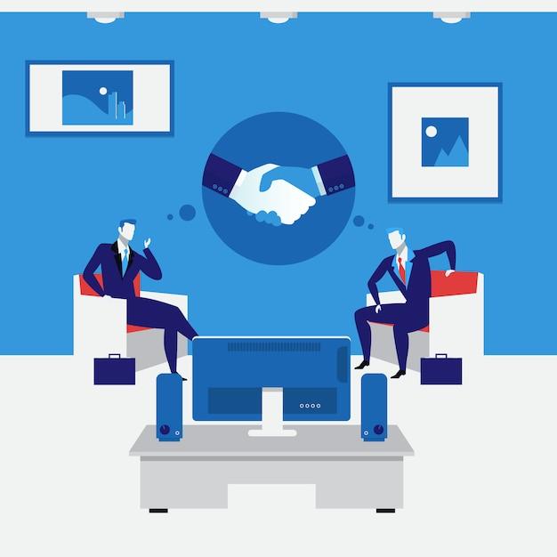 Ilustración de vector de concepto de apretón de manos de personas de negocios en estilo plano Vector Premium