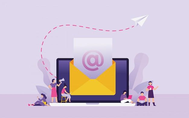 Ilustración de vector de concepto de boletín y marketing por correo electrónico Vector Premium