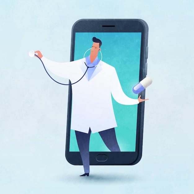 La ilustración de vector de concepto de telemedicina y telesalud con un médico lleva una píldora saliendo de un teléfono inteligente. Vector Premium