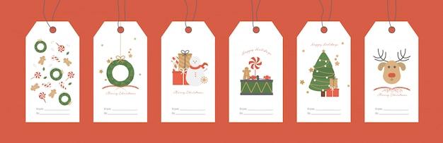 Ilustración de vector. conjunto de etiquetas de regalo de navidad. vector gratuito