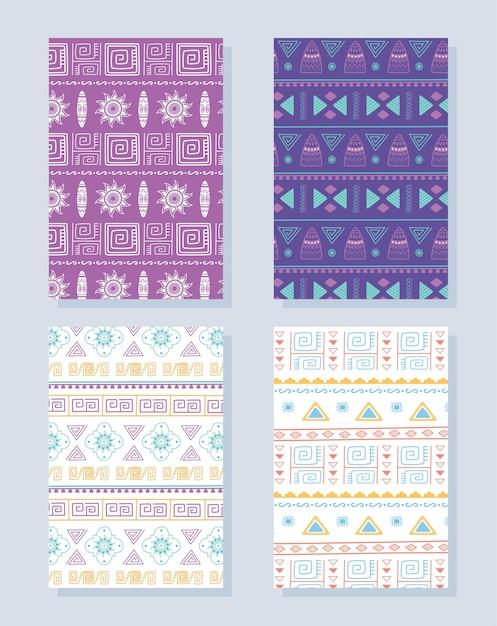 Ilustración de vector de conjunto de patrones étnicos hechos a mano, tradicionales tribales africanas adorno cultura textil Vector Premium