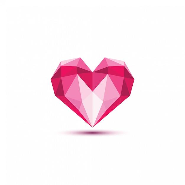Ilustración de vector de corazón poligonal. Vector Premium