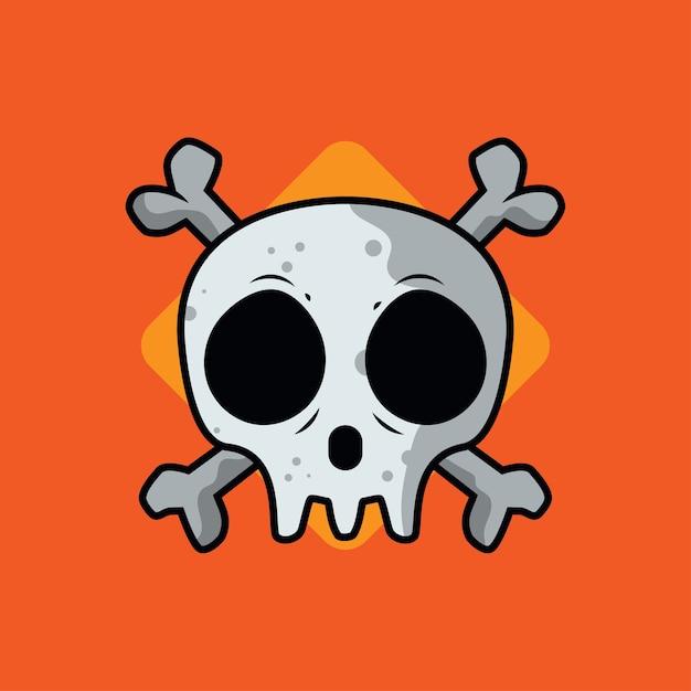 Ilustración de vector de cráneo dibujos animados Vector Premium