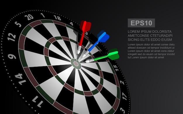Ilustración de vector de dartboard aislado para juego de dardos. Vector Premium