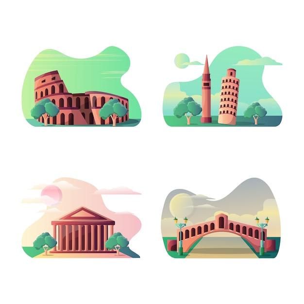 Ilustración de vector de destino turístico italiano Vector Premium