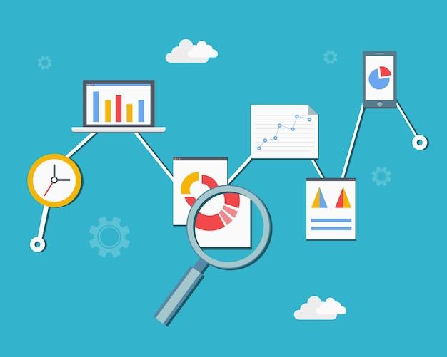 Ilustración de vector de diagrama de infografías de análisis y estadísticas web en estilo plano vector gratuito
