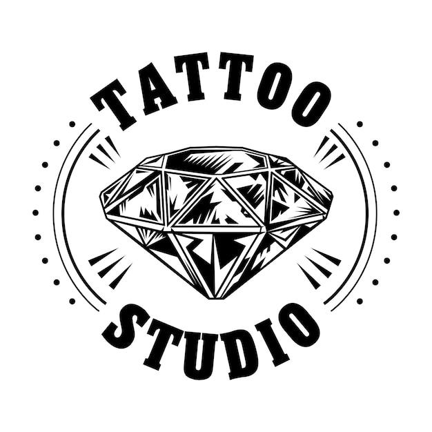 Ilustración de vector de diamante blanco y negro. logotipo de estudio de tatuajes vintage vector gratuito