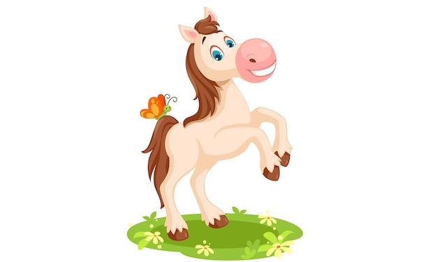 Ilustración de vector de dibujos animados de caballo blanco vector gratuito