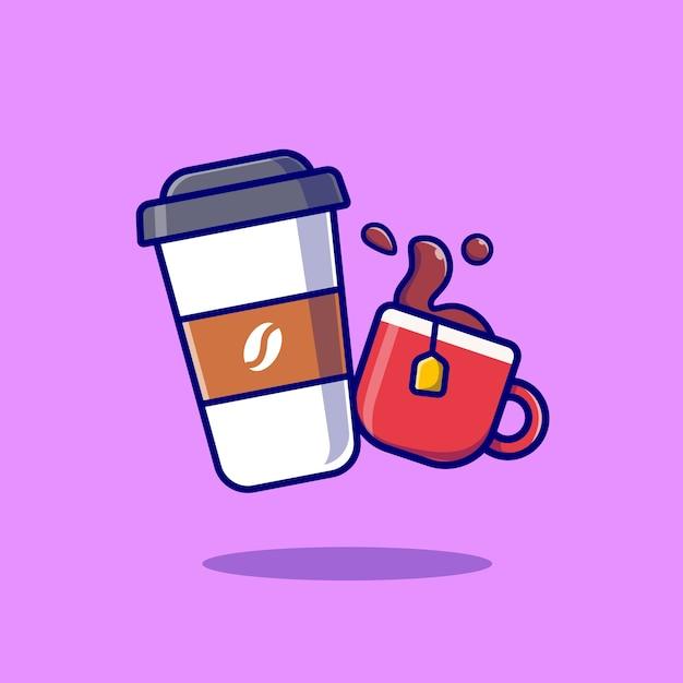 Ilustración de vector de dibujos animados de café y té. concepto de comida y bebida vector aislado. estilo de dibujos animados plana vector gratuito