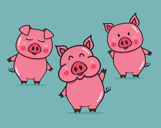 Ilustración de vector de dibujos animados de cerdos lindos Vector Premium