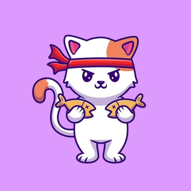 Ilustración de vector de dibujos animados lindo gato con pescado. vector gratuito