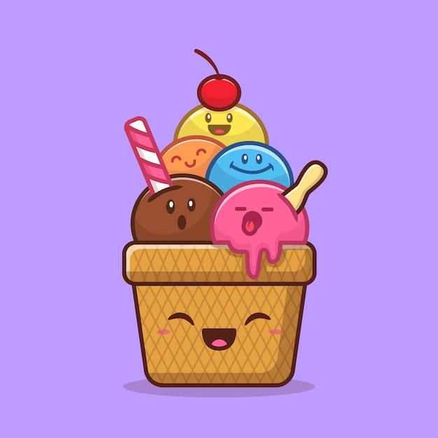 Ilustración de vector de dibujos animados lindo helado feliz. concepto de helado de alimentos aislado. estilo de dibujos animados plana vector gratuito