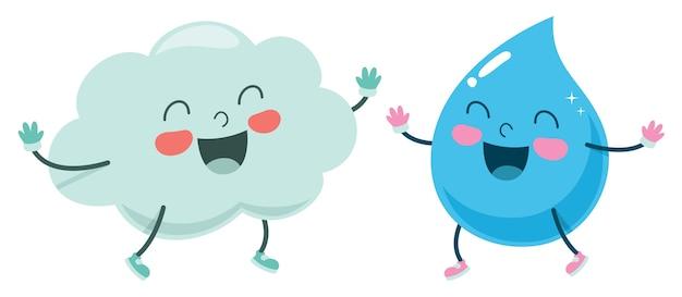 Ilustración De Vector De Dibujos Animados Nube Y Gota De Agua