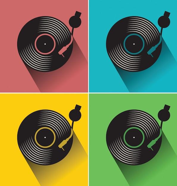 Ilustración de vector de disco plano de disco de vinilo negro ...