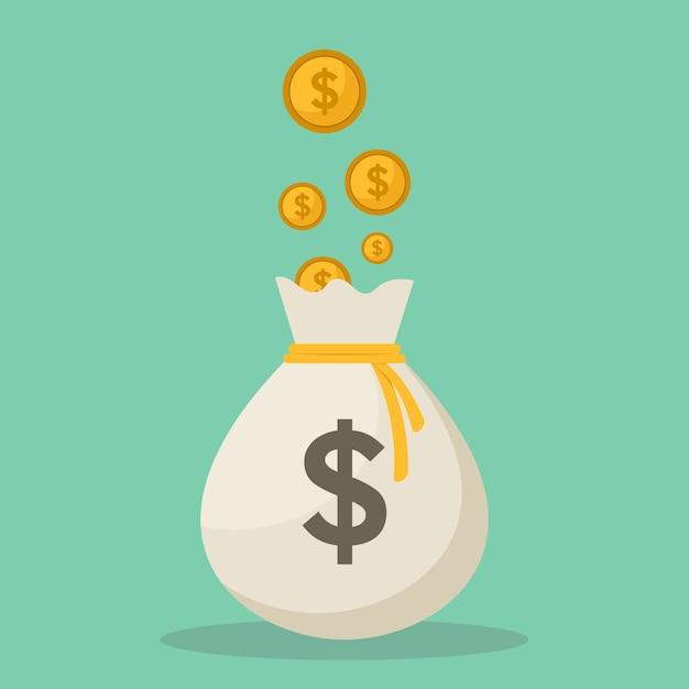 Ilustración de vector de diseño plano de bolsas y monedas de dinero Vector Premium