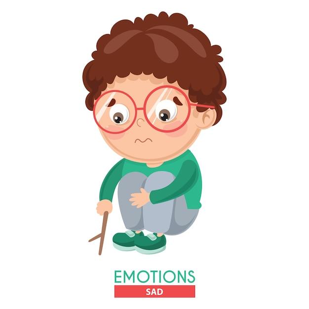 Ilustración de vector de la emoción del niño triste Vector Premium