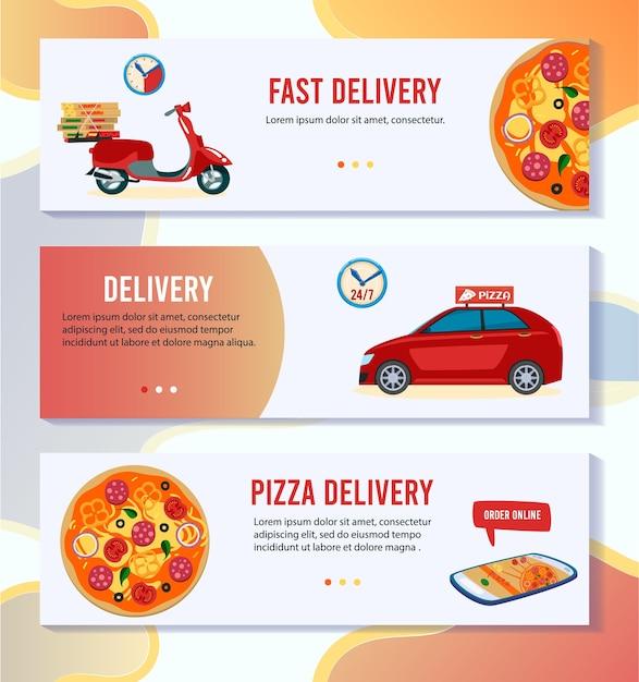 Ilustración de vector de entrega de pizza. conjunto de banners de aplicaciones móviles planas de dibujos animados con pedido de pizza en línea en una tienda pizzería, mensajería exprés gratuita con entrega en scooter o automóvil Vector Premium