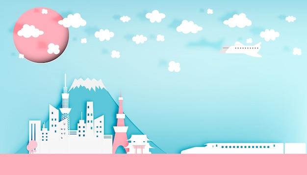 Ilustración de vector de estilo de arte de papel de ciudad de tokio japón Vector Premium