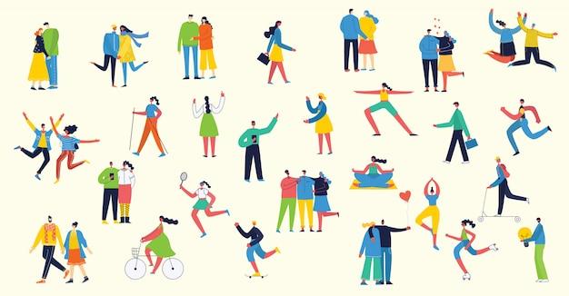 Ilustración de vector de estilo plano de personas de diferentes actividades Vector Premium