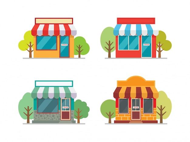 Ilustración de vector de fachada de edificio de la tienda Vector Premium
