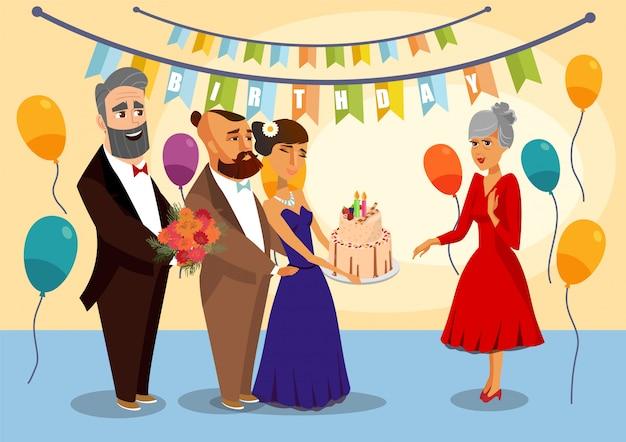 Ilustración del vector de la fiesta de cumpleaños de la abuela. Vector Premium