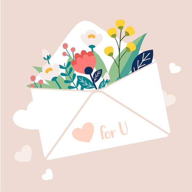 Una ilustración del vector de la flor en el correo de carta. ramo de flores en el correo blanco Vector Premium