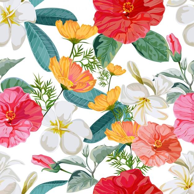 Ilustración de vector floral de patrones sin fisuras Vector Premium
