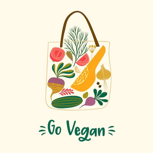 Ilustración de vector de frutas y verduras en una bolsa Vector Premium