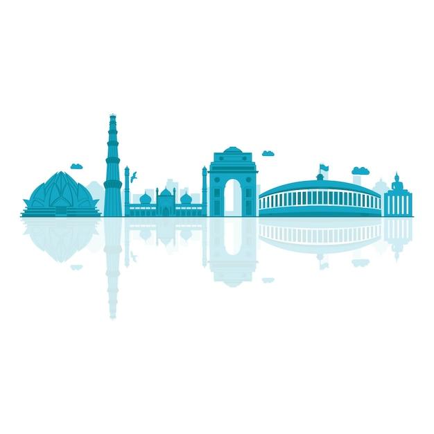 Ilustración del vector del horizonte de delhi. Vector Premium