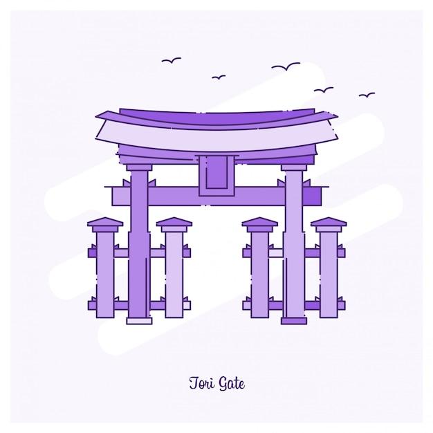 Ilustración de vector de horizonte de tori gate landmark línea punteada púrpura Vector Premium
