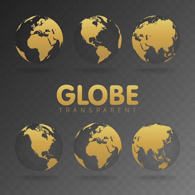 Ilustración de vector de iconos de globo de oro con diferentes continentes Vector Premium