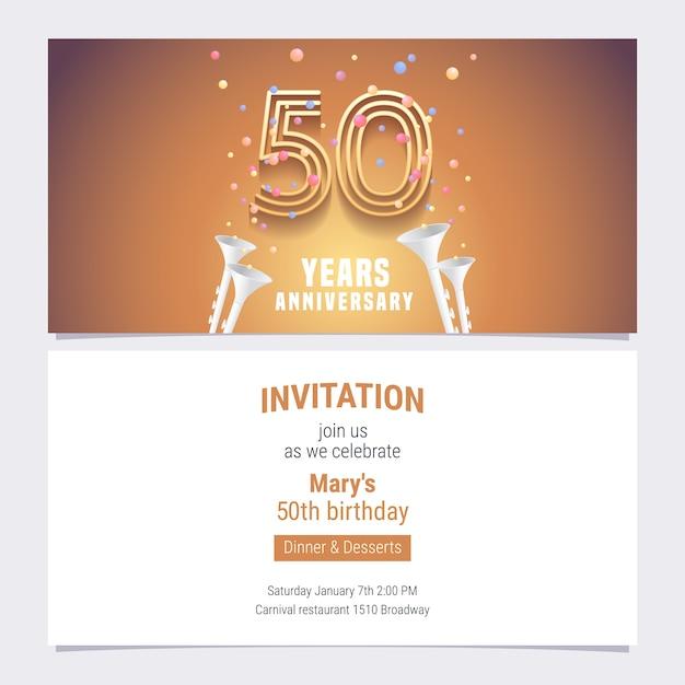 Ilustración de vector de invitación de aniversario de 50 años. elemento de diseño gráfico con número dorado y confeti para tarjeta de cumpleaños número 50, invitación a fiesta Vector Premium