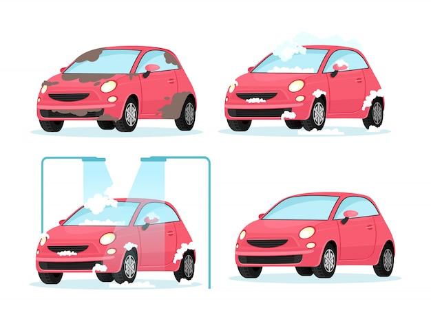 Ilustración de vector de lavado proceso de coche sucio. concepto para el servicio de lavado de coches sobre fondo blanco en estilo de dibujos animados plana. Vector Premium