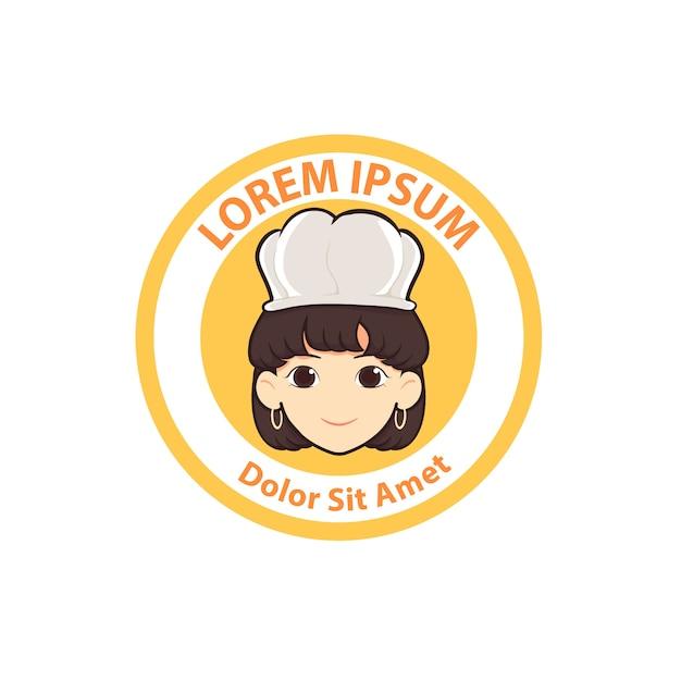Ilustración de vector de linda mujer chef cartoon logo insignia Vector Premium