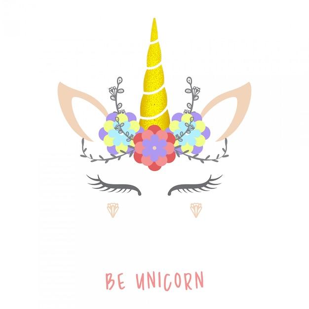 Ilustración de vector lindo unicornio. Vector Premium