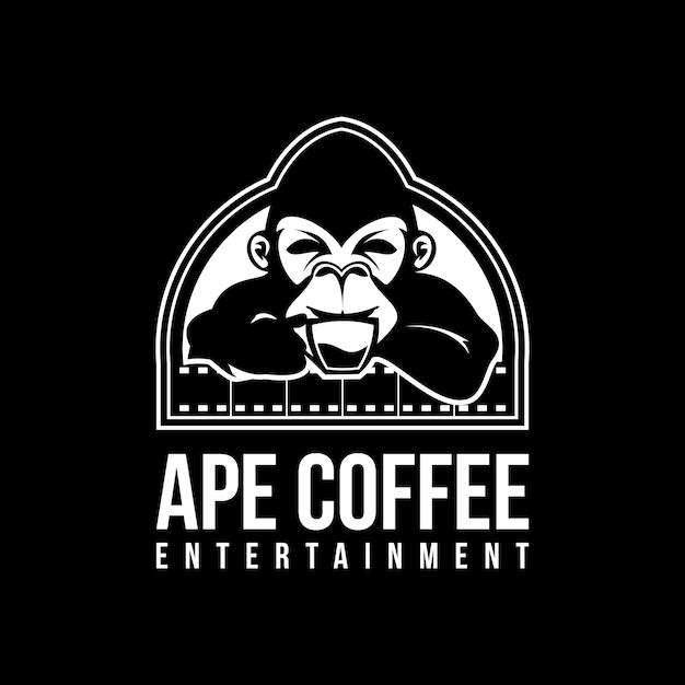 Ilustración de vector de logotipo de café de mono Vector Premium