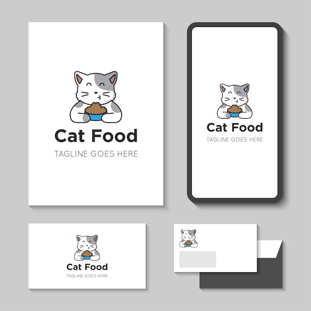 Ilustración de vector de logotipo e icono de comida para gatos con plantilla de aplicación móvil Vector Premium