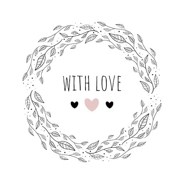 Ilustración de vector con marco floral amor. Vector Premium