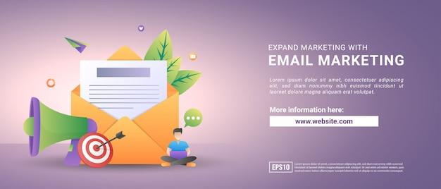 Ilustración de vector de marketing por correo electrónico y concepto de mensaje. enviar mensaje y señal de notificación de mensaje. Vector Premium
