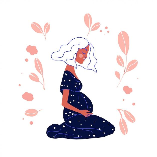 Ilustración de vector de mujer embarazada Vector Premium