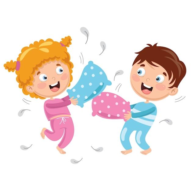 717b96b06b Ilustración de vector de niños jugando pelea de almohadas ...