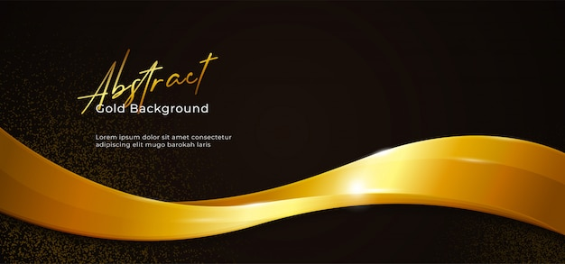 Ilustración de vector de onda fluida abstracta brillante dorada con brillo dorado sobre fondo de papel negro oscuro Vector Premium