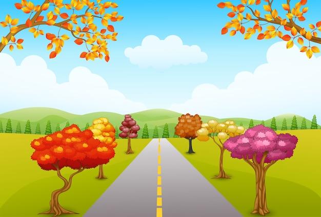 Ilustración del vector del paisaje del parque de otoño con un camino y árboles Vector Premium