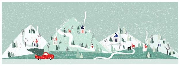 Ilustración de vector de panorama del paisaje urbano de la ciudad en invierno con camioneta con árbol de navidad. mínimo paisaje de invierno de navidad. Vector Premium