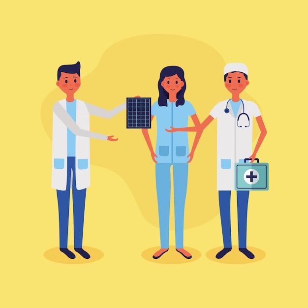 Ilustración de vector de personal médico personas vector gratuito