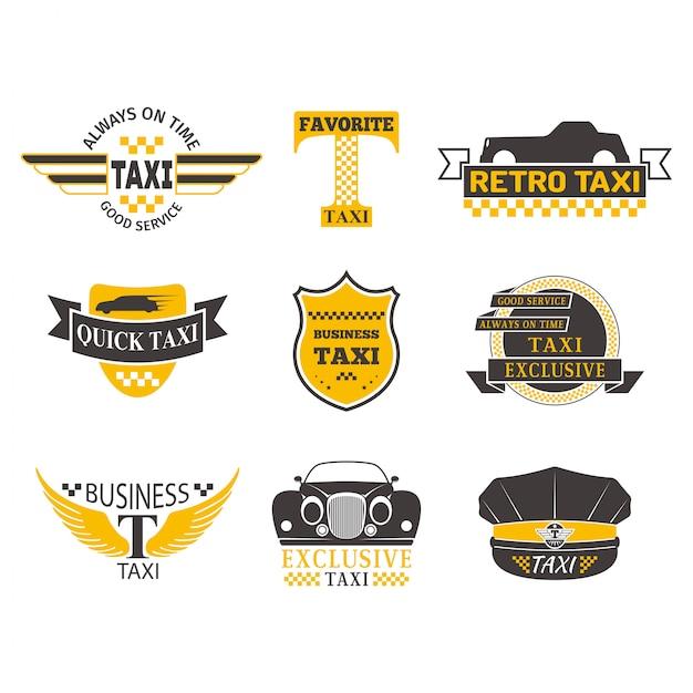 Ilustración de vector de placa de taxi. Vector Premium